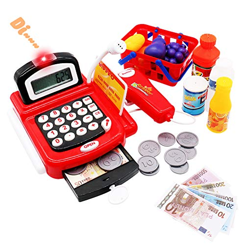 Fajiabao Cash Register Toy for Kids Pretend Play Register Light & Sounds with Scanner Calculator Fruit Vegetables Food Set Girls Boys
