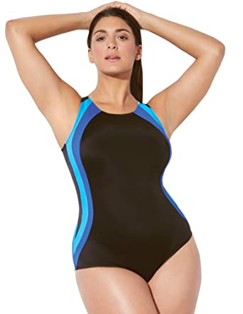 ff607cc998a Swimsuits for All Women's Plus Size and Back Keyhole Chlorine Resistant  Swimsuit at Amazon Women's Clothing store: