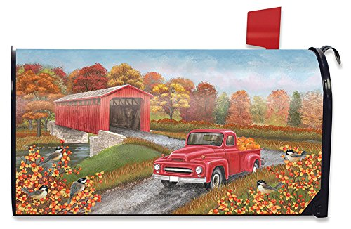 (Briarwood Lane Autumn Bridge Magnetic Mailbox Cover Fall Pickup Truck Standard)
