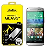 Cailifu [Tempered Glass] HTC ONE M8 Highest Quality Premium High Definition Ultra Clear Screen protector with Lifetime Replacement Warranty [1-Pack] - Retail Packaging 2014 (0.33mm,2.6D Rounded Edges)