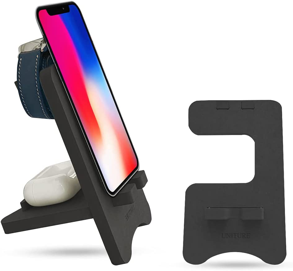Cell Phone Holder for Desk – MDF Wooden Phone Stand Compatible with iPhone, Apple Watch, and AirPods – Premium Cell Phone Desk Holder for Men and Women – Classy and Minimalist Design
