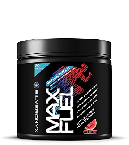 Pre Workout Powder with Beta-Alanine & Caffeine 6500mg - Ripped Thermogenic Energy Fat Burners for Men & Women, Weight Loss & Performance - Max Fuel by SilverOnyx - Watermelon, 30 Servings (Fuel Pump Creatine)