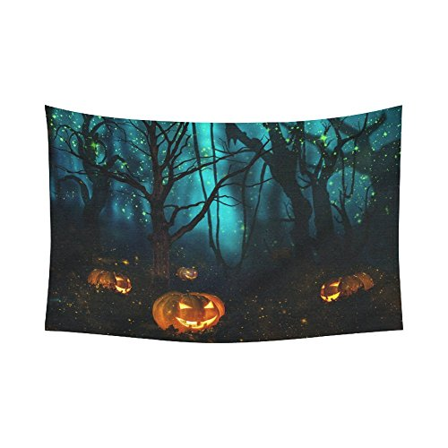 Interestprint Halloween Pumpkin Jack O Lantern Tapestry Horizontal Wall Hanging Spooky Tree Forest Night Sky Wall Decor Art for Living Room Bedroom Dorm Cotton Linen Decoration 90 X 60 (Wall Coverings For Halloween)
