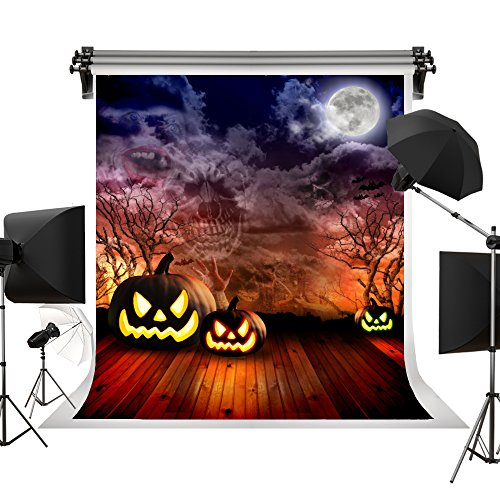 Kate Halloween Backdrop Pumpkin Lanterns Backgrounds Full Moon Horrible Backdrops for Children Kids Celebration Photography Studio 5X7ft(1.5X2.2m)]()