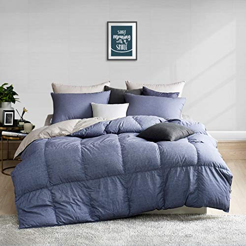 APSMILE Puffy All Seasons Goose Down Comforter - Reversible No-Swen Baffle Ultra-Soft Brushed Fabric, 650FP 55oz Medium Weight Duvet Insert (King,Blue-Gray/Grey)