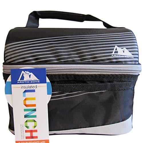 Artic Zone Cooler Classic Lunch Bucket (Black-Grey Single Zip) (Zone Artic Bags Lunch)