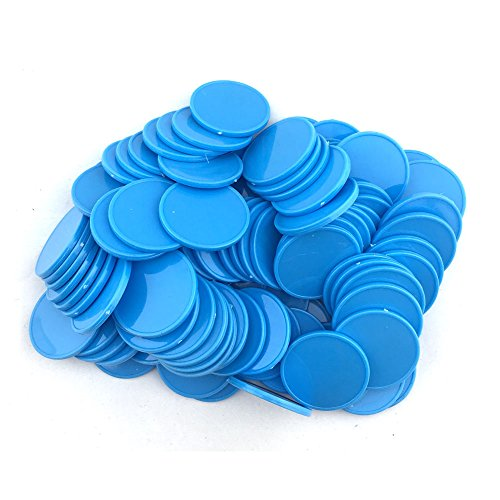 SmartDealsPro Set of 100 1 Inch Opaque Plastic Learning Counters Mini Poker Chips Game Tokens with Storage Box (Sky Blue) (Plastic Token)
