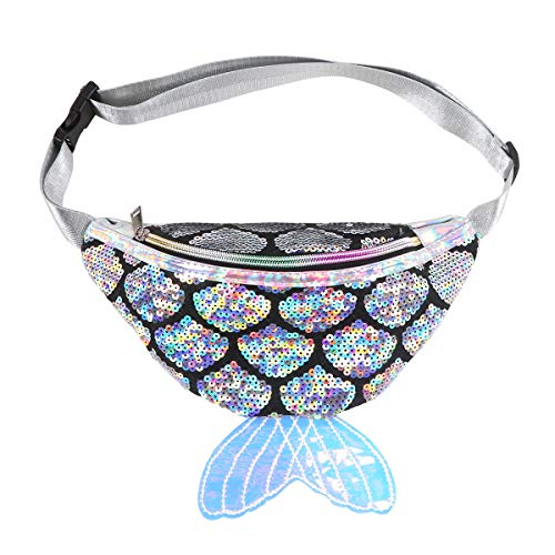 (Fanny Pack for Kids,LIVEBOX Mermaid Sequin Waist Bag Girl Reversible Waist Pack Glitter Sling Bag with Adjustable Belt for Beach Travel, Party, Daily,Sport Running (Silver))