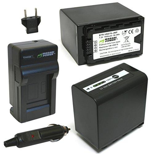 Wasabi Power 7800mAh Battery (2-Pack) & Charger for Panasonic VW-VBD58, VW-VBD78, AG-VBR89G and Panasonic AG-3DA1, AG-DVC30, AG-DVX200, AG-HPX255, AG-HVX201, AJ-PCS060, AJ-PX298, HC-X1000, HDC-Z10000
