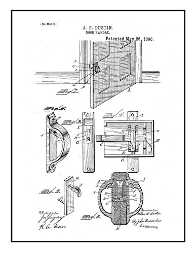 Door Handle Patent Print Black Ink on White with Border  M14