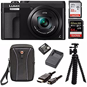 "Panasonic DC-ZS70K Lumix 20.3MP, 4K Touch 3"" LCD, 180 Degree Display, Panasonic Battery/charger Pack Bundle"