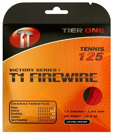 Tier One T1-Firewire Co-polyester Tennis String (Red, 17 gauge (1.25 mm) - 12.2 m set)