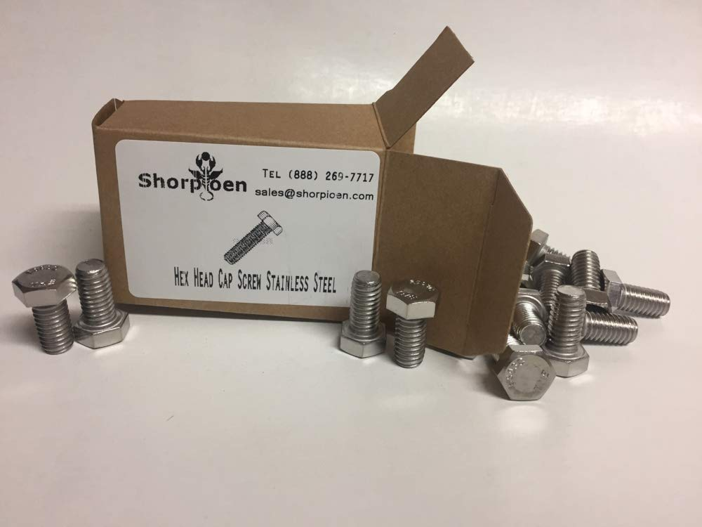 Pack of 2 Hex Head Cap Screw 18 8 Stainless Steel 1-8 x 3 by Shorpioen BC-10048CH188-2