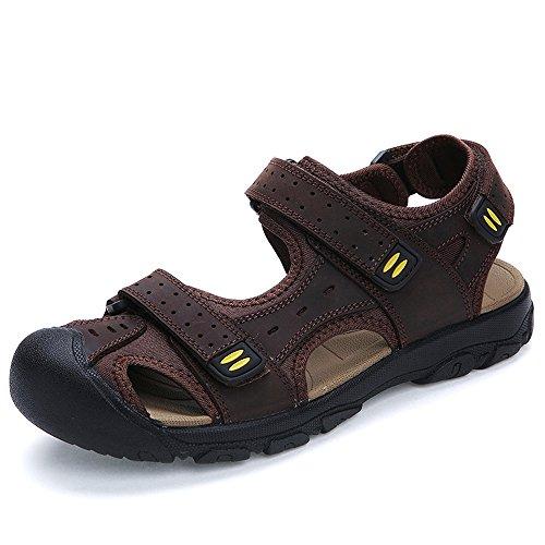 Enllerviid Hombres Sandalias De Pescador De Cuero Con Punta Cerrada Escalada Senderismo Zapatos De Playa Sandalias Deportivas De Color Marrón Oscuro