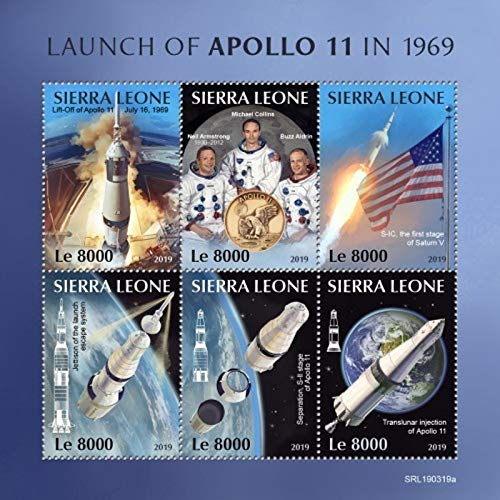 Sierra Leone - 2019 Apollo 11 Anniversary - 6 Stamp Sheet - SRL190319a