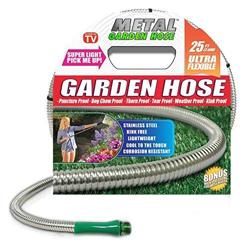 HARVEST TRADING GROUP Metal Garden Hose (25'), The Original 304 Stainless Steel Metal Garden Hose