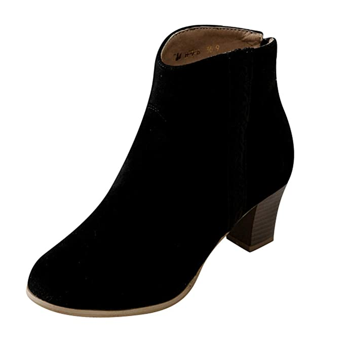 95d4a70ae874a Amazon.com: Dasuy Ankle Boots for Women Mid Chunky Heel Western ...