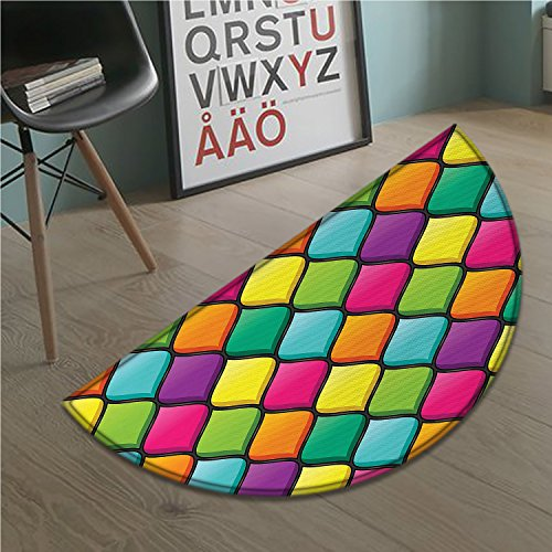 Geometric Bath Mat non slip Stained Glass Inspired Pattern in Lively Colors and Black Partitions Waves Curves Customize door mats for home Mat Multicolor]()