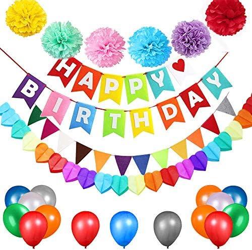 カラフルなHappy誕生日バナーカラフルな誕生日 バルーン、 HAPPY BIRTHDAY 風船心型のガーランド多色三角形ペナントカラーペーパーハニカムボール パーティー デコレーション