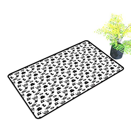 Zmstroy Outdoor Door mat Alien Monochrome Monster Silhouettes Childish Drawings of Otherworldly Beings Halloween W35 xL59 Quick and Easy to Clean Black White