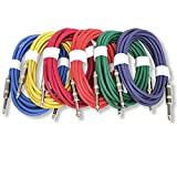 GLS Audio 12ft Patch Cable Cords - 1/4'' TS To 1/4'' TS Shielded Unbalanced Color Cables - 12' Mono Snake Cord - 6 PACK