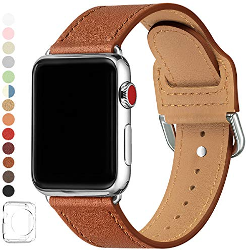 LOVLEOP Bands Compatible with Apple Watch Band 38mm 40mm 44mm 42mm, Top Grain Leather Strap for iWatch Series 5 Series 4 Series 3 Series 2 Series 1 (Brown + Silver Connector, 38mm 40mm)