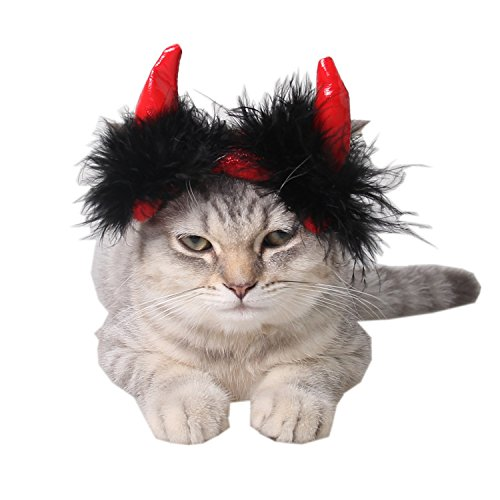 Ollypet Halloween Costume Dog Cat Devil Horn Hat Party Accessory Small Medium Large Pet Apparel Adjustable Trendy Cute Head Dress Theme Outfit (M)