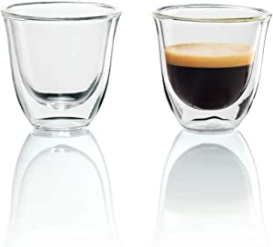 DeLonghi 2 Espresso Glasses Pack, Coffee Machine Accessories, DBWALLESP, Clear