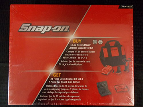 Snap-On 31 Piece, 14.4V Cordless Screwdriver, 23 Piece Quick Change Bit Set, 7 Piece Hex Shank Drill Bit Set, Part #CTS761BITS by Snap-on