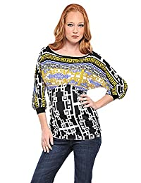 OLIAN Maternity Women's Greek Key Print Ruched Sides Tunic Top X-Small Multi