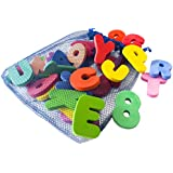 Freddie and Sebbie Bath Toys, Non Toxic Luxury 36 Piece Set Bath Letters and Numbers with Toy Organizer