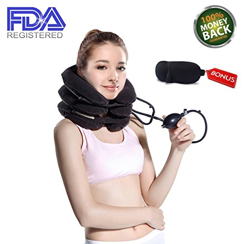 Maldora Cervical Neck Traction Device FDA Registered ✮ Inflatable Pillow Effective and Instant Relief for Chronic Neck & Shoulder Pain with Adjustable Size (Gray) ✮ Bonus Sleep Mask (Neck Pillow Traction)