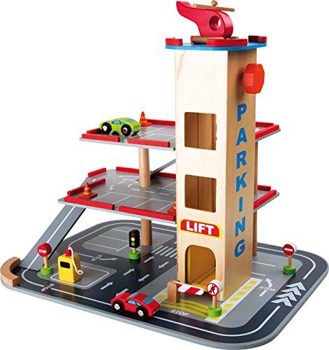 Parkhaus komplett aus Holz mit 3 Etagen und Aufzug, Hubschrauberlandeplatz auf dem Dach, mit Autos, Verkehrsschildern und vielem mehr