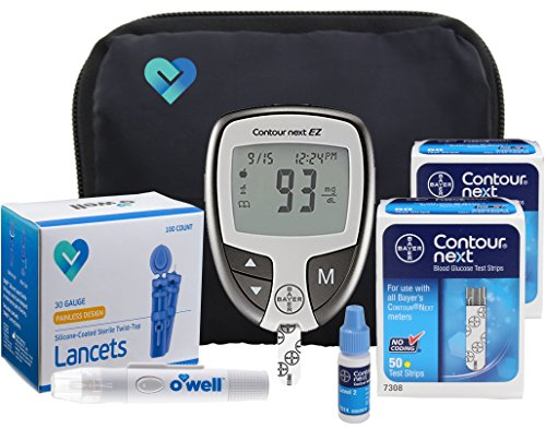 Ez Kit (Bayer Contour NEXT Diabetes Testing Kit, 100 Count | Contour NEXT EZ Meter, 100 Contour NEXT Blood Glucose Test Strips, 100 Lancets, Lancing Device, Control Solution, Manual's, Log Book & Carry Case)