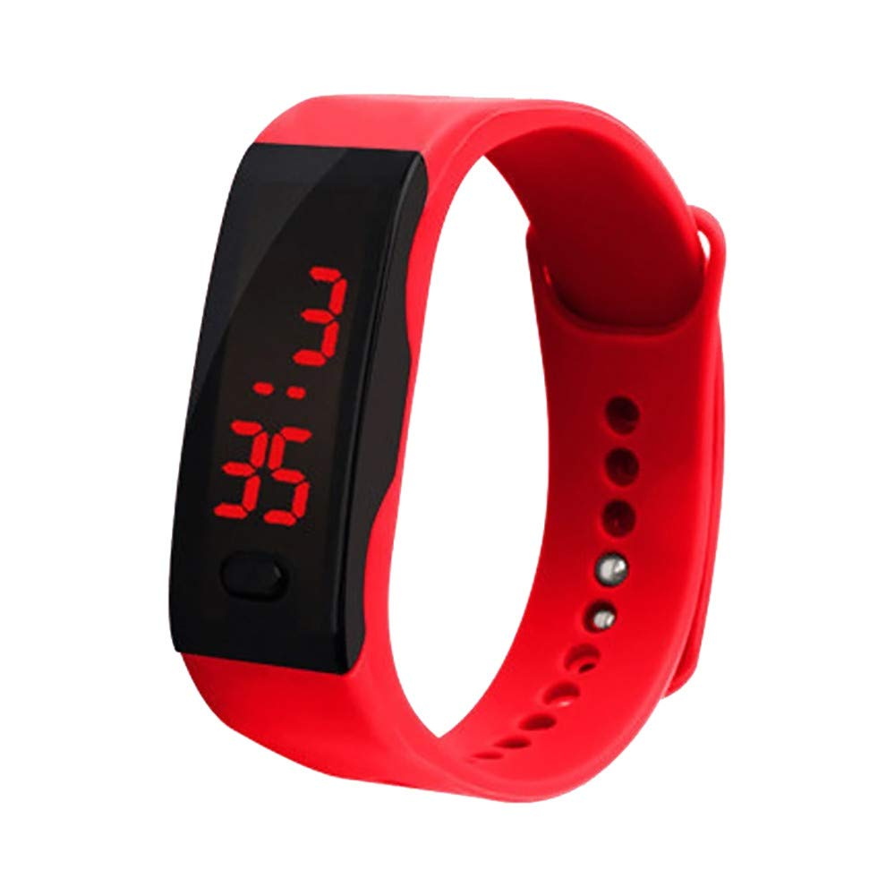 AGUIguo Classic Fashion Small LED Digital Display Bracelet Watch Children's Students Silica Gel Sports Watch (Red)
