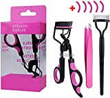 Eyelash Curler,Kapmore Professional Lash Curler Plastic Handle Lash Curling Tool with 5 Refill Pads, Eyelash Comb,Eyebrow Tweezers for Women and Girls