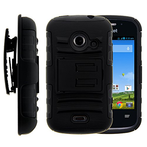 atible w/ ZTE Whirl 2 Case, ZTE Whirl 2 Holster, layer Hybrid Armor Hard Cover w/ Stand for ZTE Whirl 2 Z667G, ZTE Flame, ZTE Prelude 2 Z667, ZTE Zinger Z667T (Straight Talk, Net10, Cricket, T Mobile) - Black ()