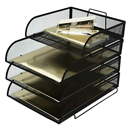 Blu Monaco Stackable Paper Tray Desk Organizer - 3 Tier Stackable Letter Tray Plus Accessory Tray - Black Metal Mesh Document ()