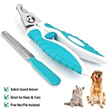 Dog Nail Clippers and Trimmer - Ztent Professional Nail Trimmer with Quick Safety Guard Sensor Sturdy Non Slip Handles for Dogs Cats and Other Small Animals Free Nail File Included