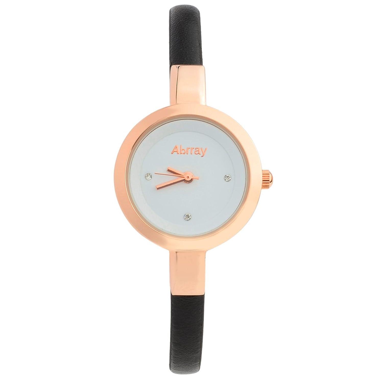 abrray Round DialローズゴールドCaseスリムシンPUバンドレディースクォーツドレス腕時計 B0759BWTHQ