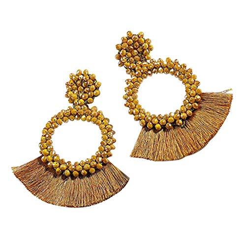 (Jocund Women Earrings Bohemian Beaded Round Dangle Solid Color Tassel Earrings)