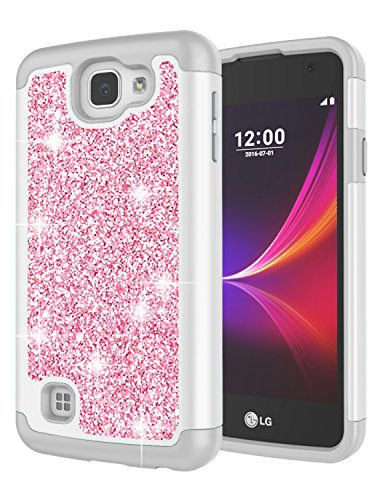 LG Rebel LTE Case, LG Optimus Zone 3 Case, LG Spree Case, LG K4 Case for Girls, Jeylly Glitter Luxury Crystal Dual Layer Shockproof Hard PC Soft TPU Inner Protector Case Cover for LG K4 - Rose Gold
