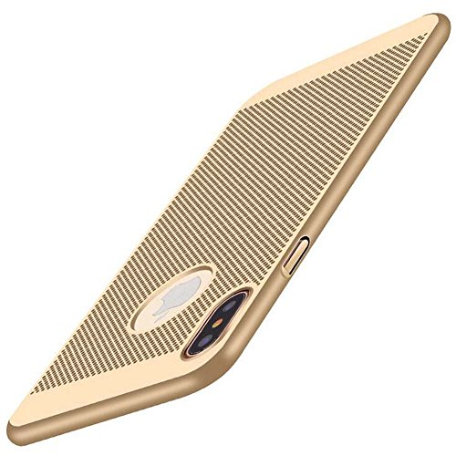 "iphone X Case,CCgo Mesh Design Ultra Slim Thin Breathable Cooling Heat Dissipation PC Hardcase Shockproof Protective Matt Cover for iphone iphone X 5.8"" Gold"