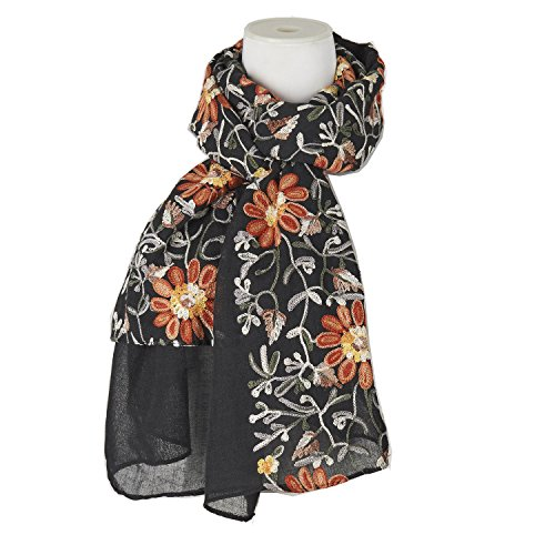 Cotton Linen Blazer (Fashion Embroidery Daisies Scarf Cotton Linen Shawls Holiday Gift For Women (Black))