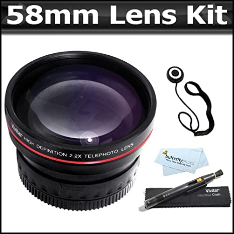 58 mm 2 x teleobjetivo HD Zoom lente + lente Pen Kit + más para la