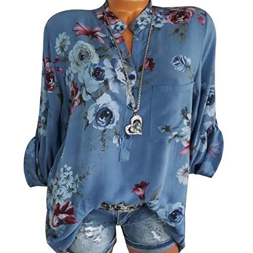 928c00289e53b iBaste Women Blouse Fresh Floral Shirt V-Neck Tunic Top Tops Elegant Shirt Plus  Size