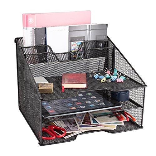 Samstar Mesh Desk File Organizer Letter Tray Holder, Desktop File Holder with 3 Paper Trays and 2 Vertical Upright Section, Black (Black)