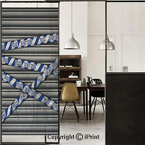 Murder Scene 3D Decorative Film Privacy Window Film No Glue,Frosted Film Decorative,Metal Shutter with Police Do Not Cross Tape Restricted Area Crime Image Decorative,for Home&Office,23.6x59Inch Grey ()