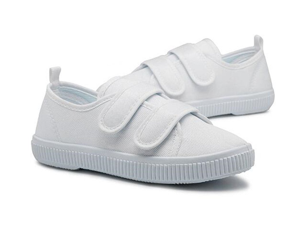 Bumud Kids Boy's Girls Low-Top Velcro Canvas Sneakers Shoes(Toddler/Little Kids) (7 M US Toddler, White)