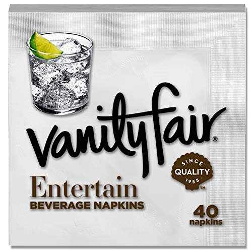 - Vanity Fair Entertain Beverage Napkin, 40 Count, White Cocktail Paper Napkin